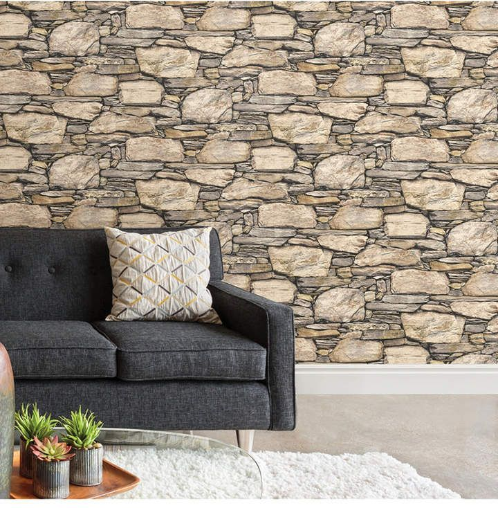 Brewster Home Fashions Hadrian Stone Wall Peel and Stick