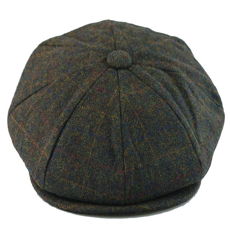 Men/'s 100/% Wool Classic 8 Panel Paperboy Newsboy Cabbie Snap Brim Cap Hat Olive
