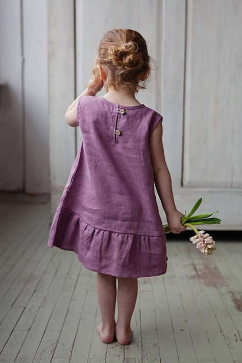 Purple wedding dress, toddler dress, flower girl dress, linen dress, long linen dress, baby girl, baby shower gift, eco friendly, linen