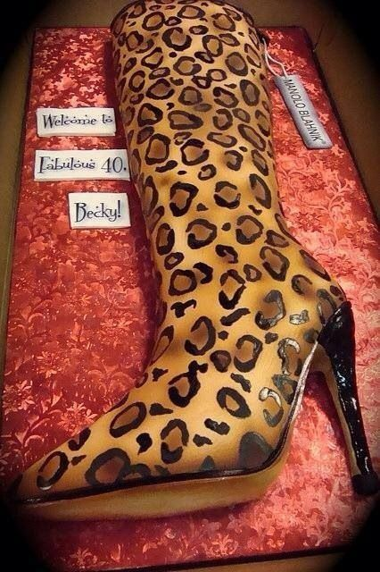 Cheetah boot cake