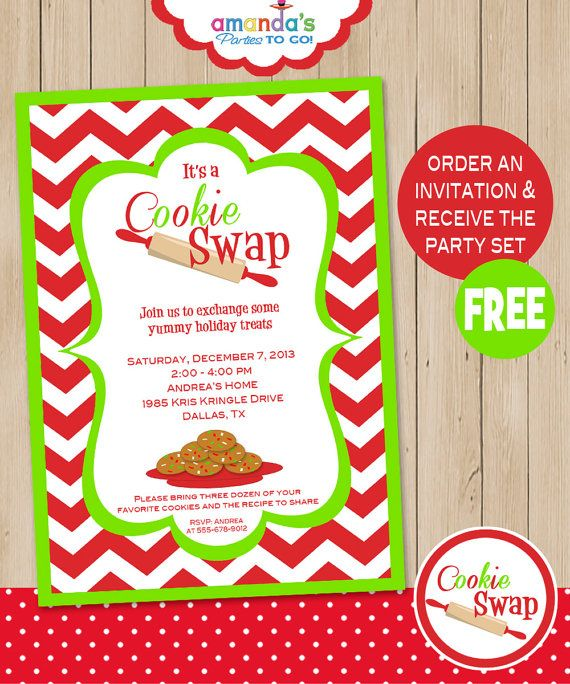 Cookie Swap Party Invitation Includes Free Instant Download Party