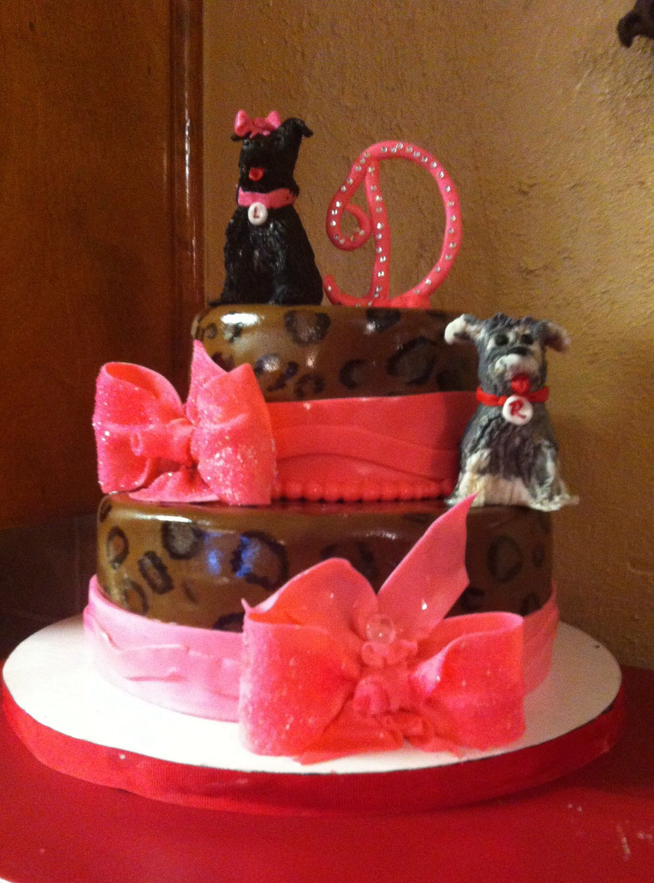 Leopard print birthday for my sister in law. My brother wanted me to add their two little dogs (their babies) Broadie and Lilie. Made by Marrlots Restaurant..