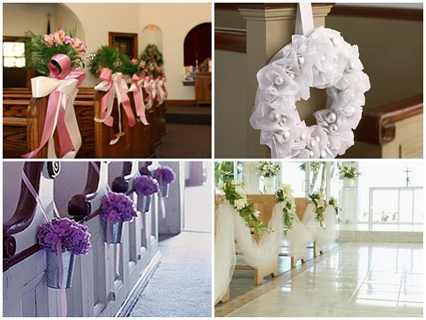 Wedding ceremony decorations wedding pew decoration ideas pew decorations ideas for church wedding decoration junglespirit Choice Image