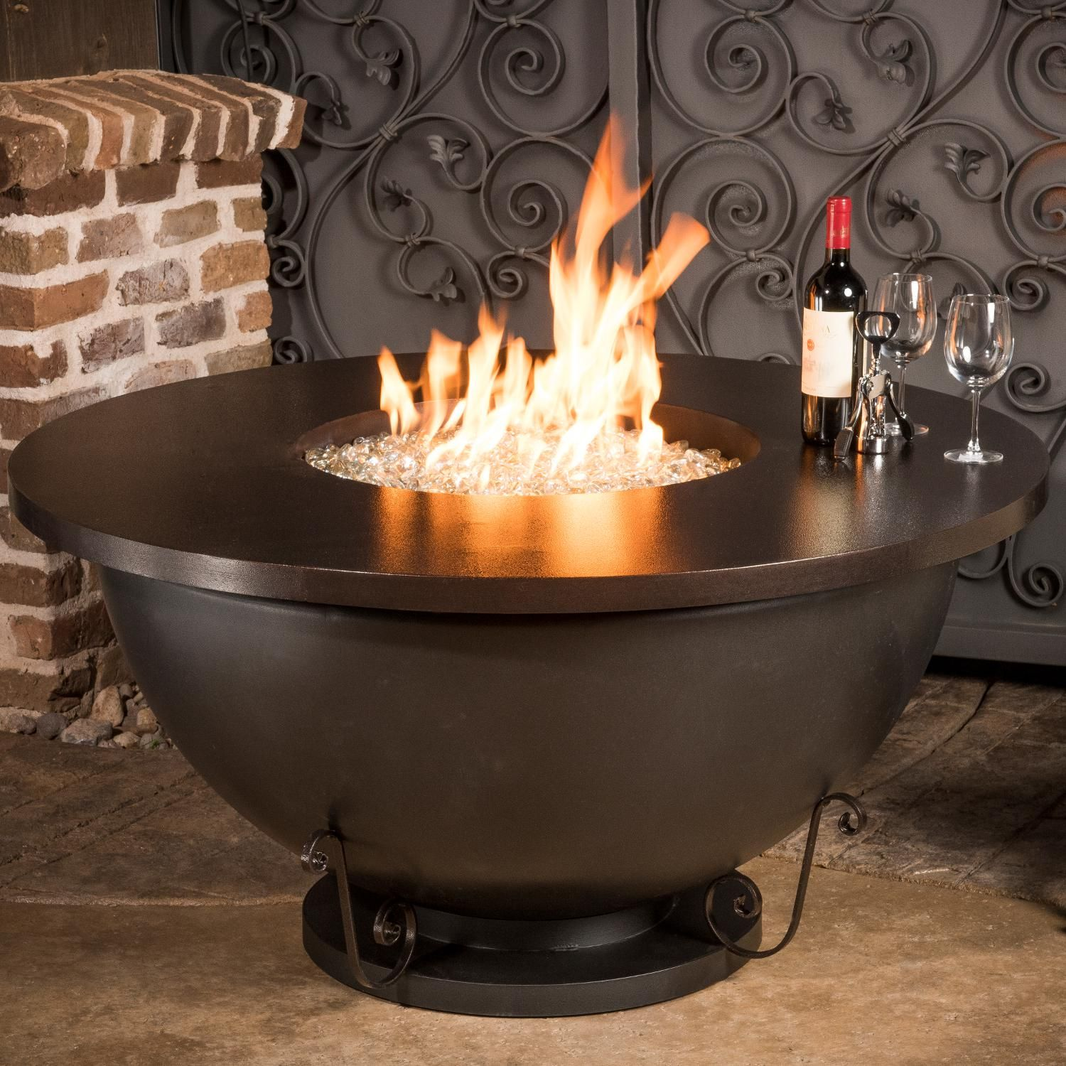 Cc Products Opulent Bowl 48 Inch Round Natural Gas Fire Table Black Finish C1043 Bbqguys Gas Fire Pit Table Fire Pit Bowl Outdoor Fire Pit
