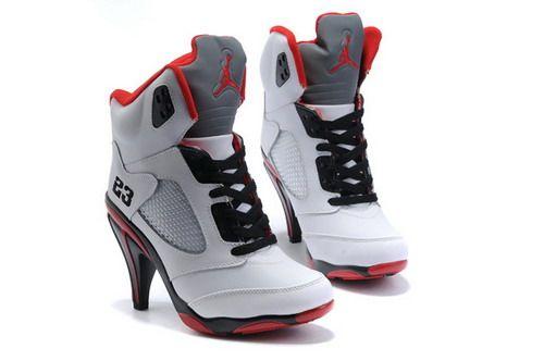 Air Jordan 5 V Womens Heels Ankle Boots White Red Cheap
