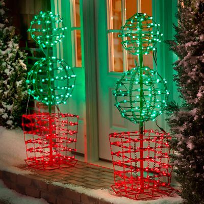 heres a contemporary twist on the traditional topiary a metal frame double ball topiary that emits super bright lights and looks stunning in the dark - Metal Frame Christmas Decorations