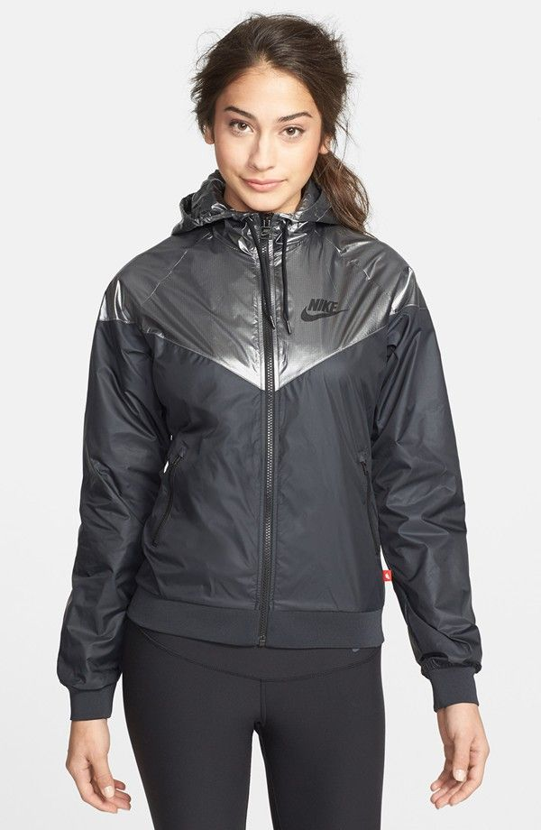 bc80f26bd9be Black and silver Nike  Windrunner  rain jacket