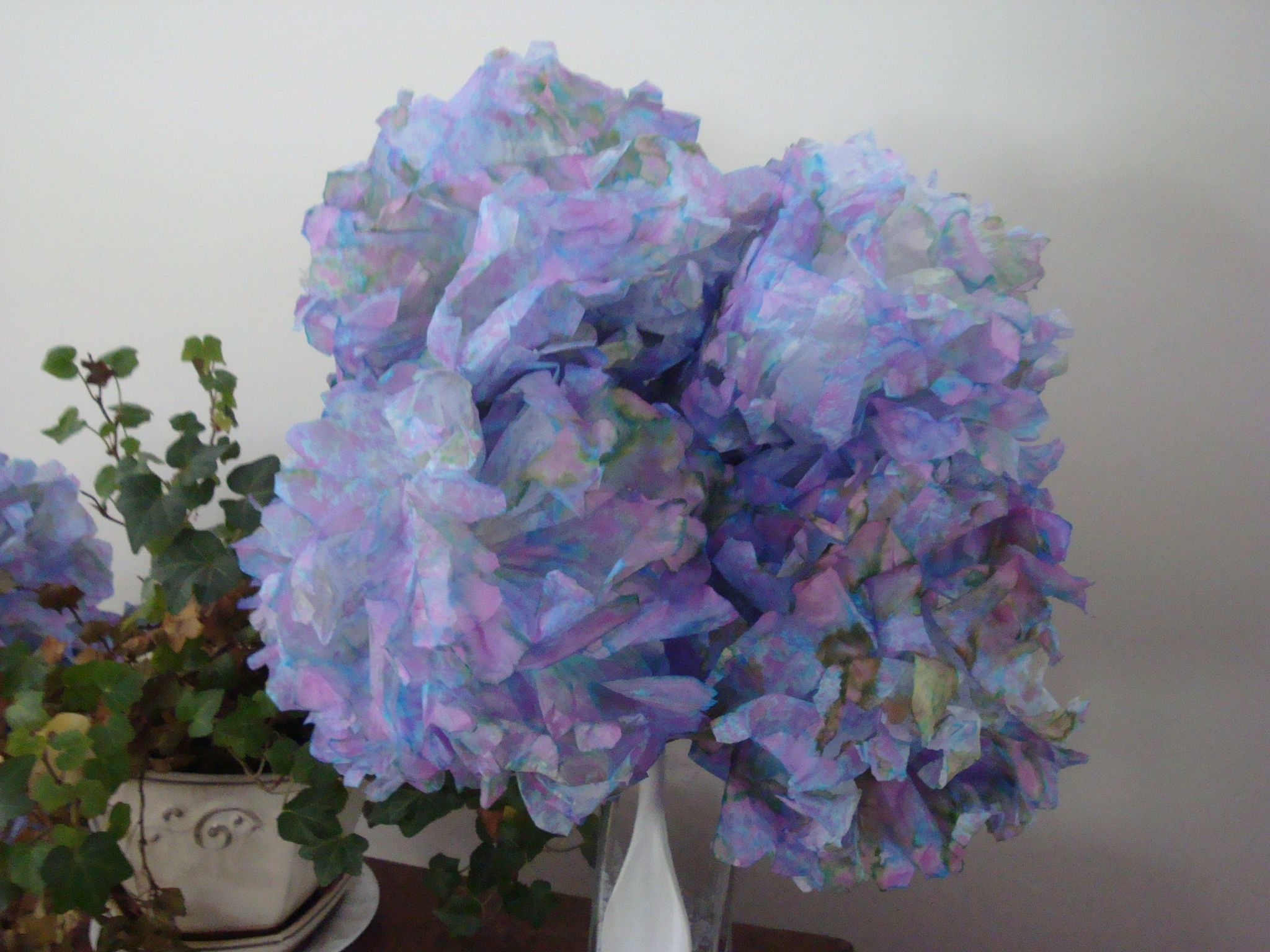 Homemade Tissue Paper Hydrangeas Craft Ideas Pinterest Tissue