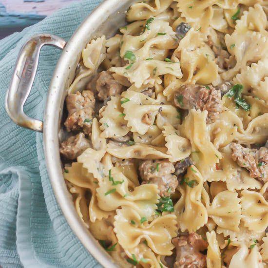 Creamy Pasta With Sausage And Mushrooms Recipe Sausage Pasta Pasta Dishes Pasta