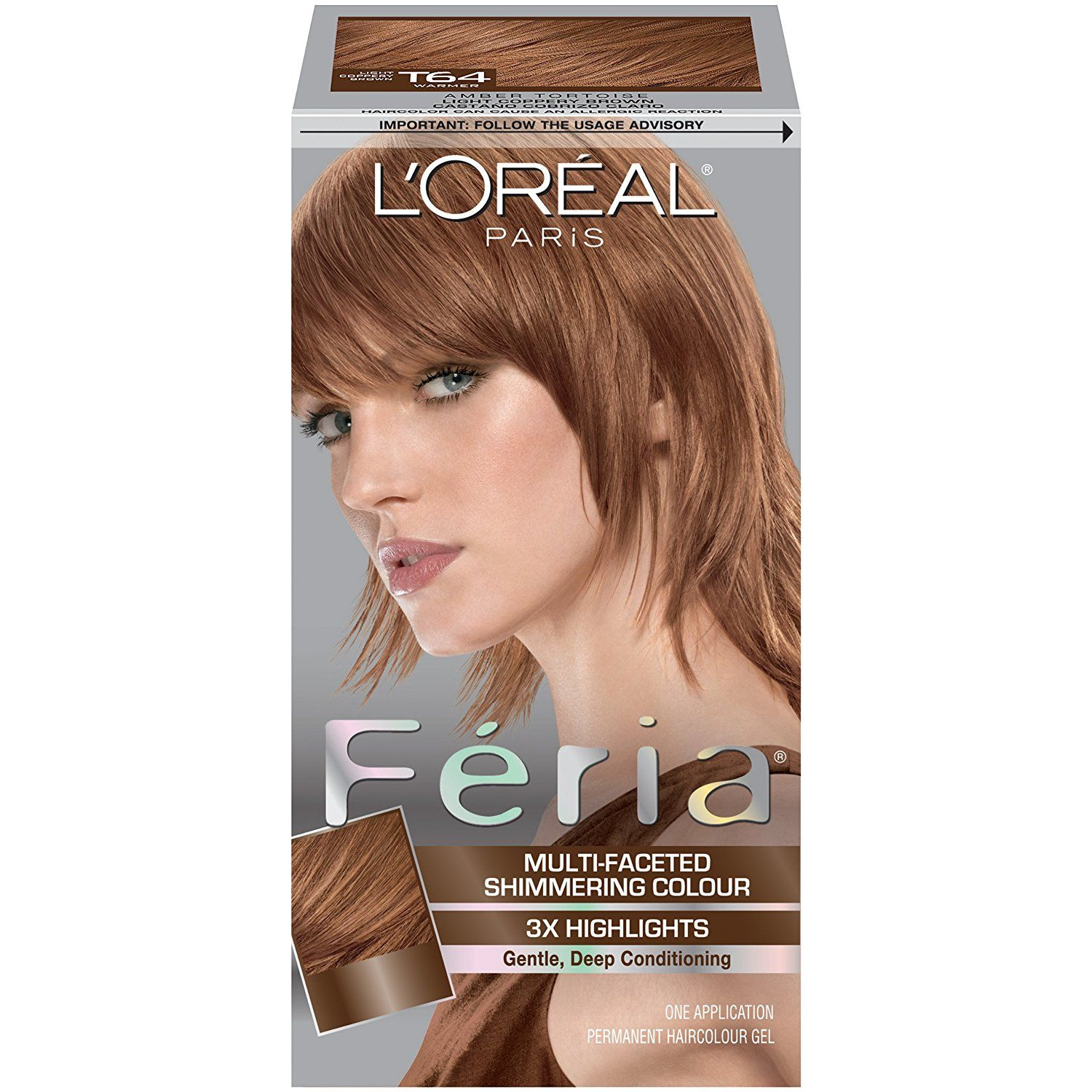 Loreal Paris Feria Hair Color T64 Light Coppery Brownamber