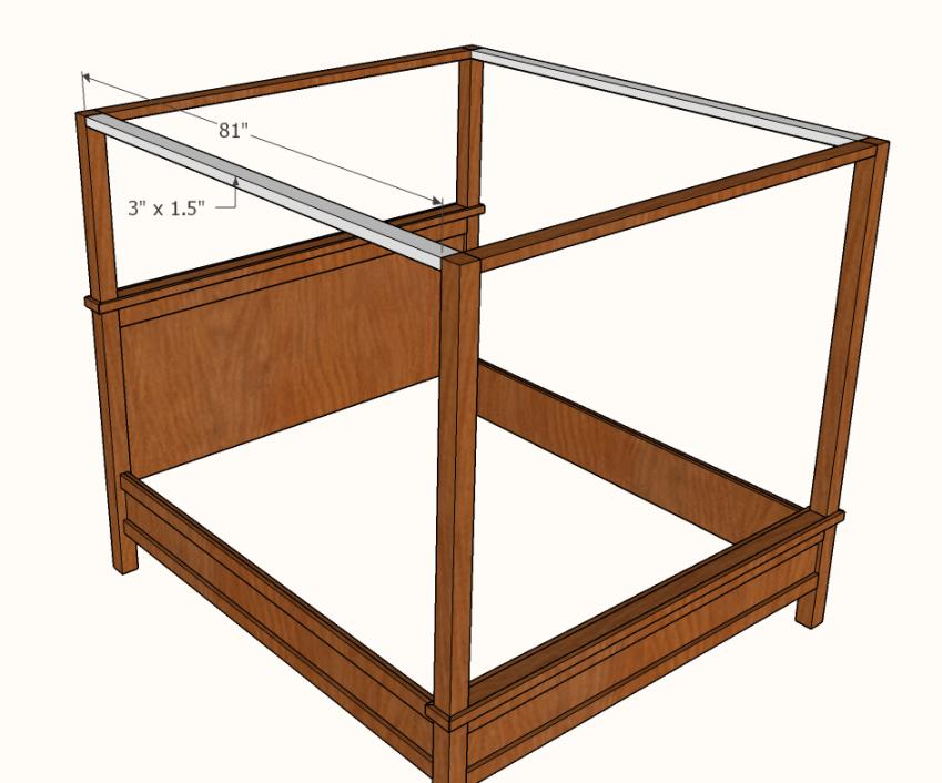 Farmhouse Canopy Bed Frame (All Sizes) Farmhouse canopy