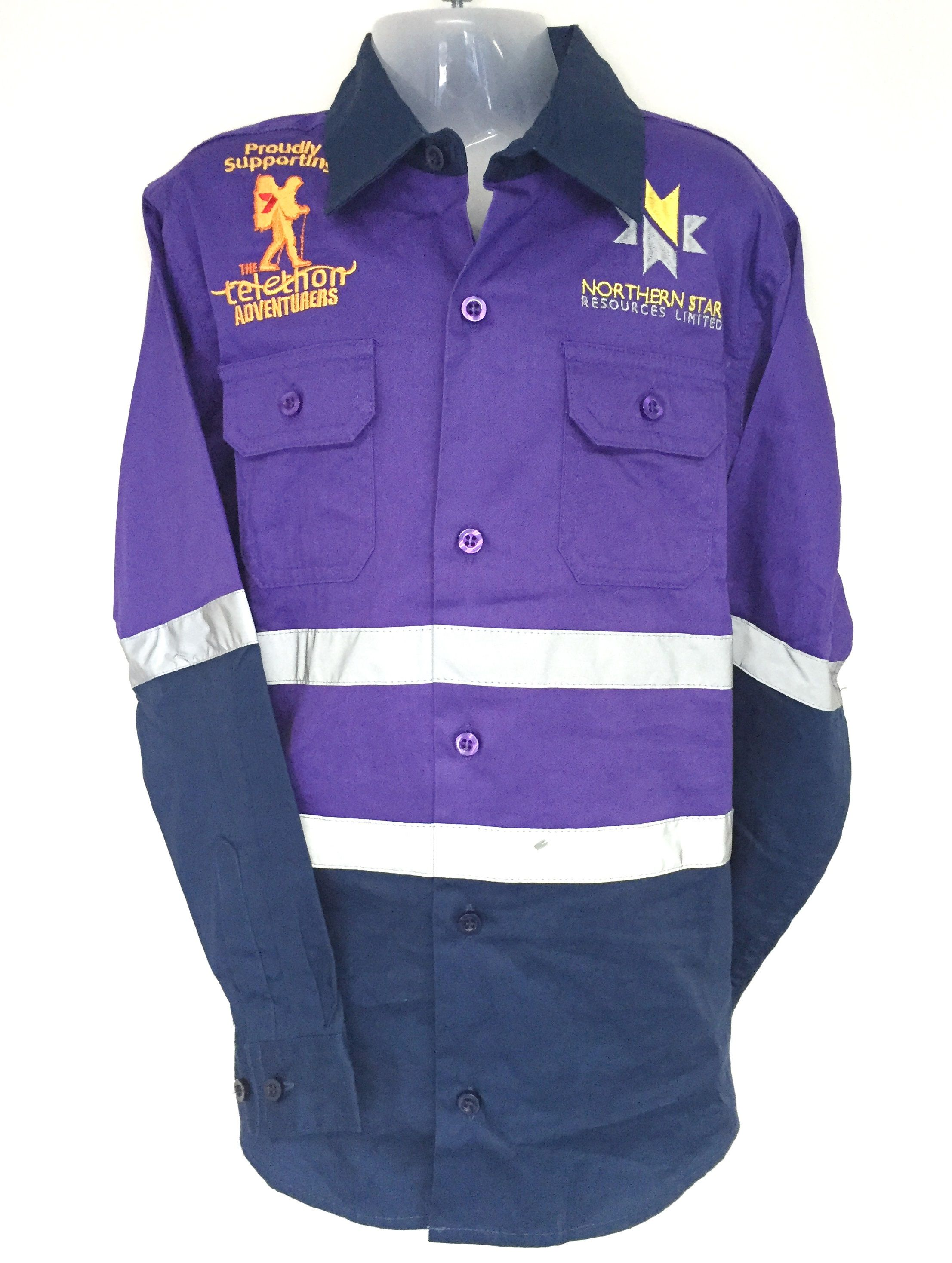Polo shirt design your own - Check Out How Cute Our Youth Size Purple Navy Hi Vis Cotton Drill Shirt Designed