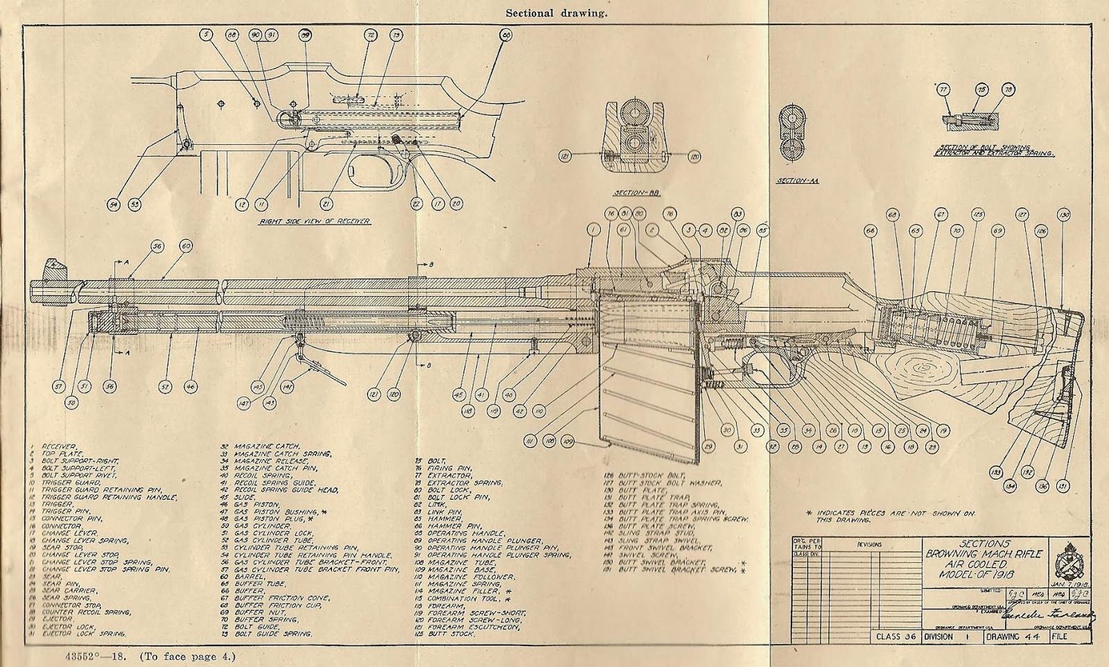 Taurus 25 Acp Schematic Parts Diagram Of The Model 1918 Bar Browning Automatic Rifle Guns