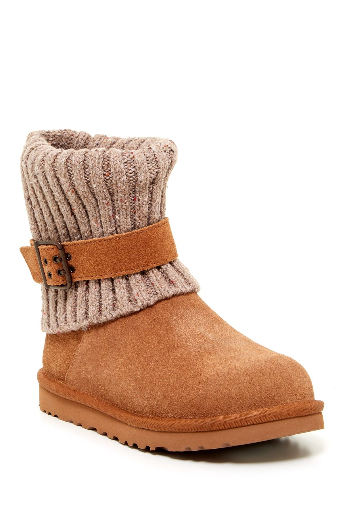Ugg Tan Suade & Knit Boots Size 7