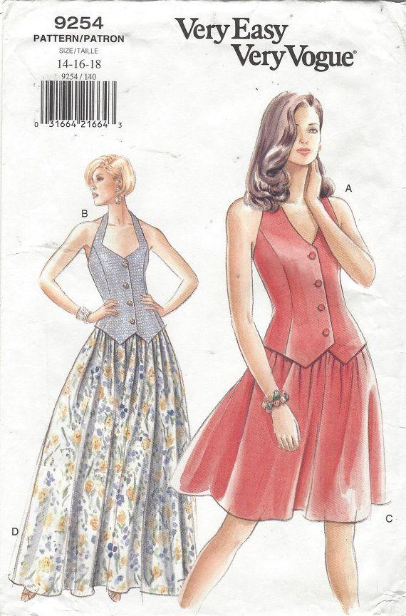 de los 90 las mujeres Halter Top y falda en 2 longitudes Vogue ...