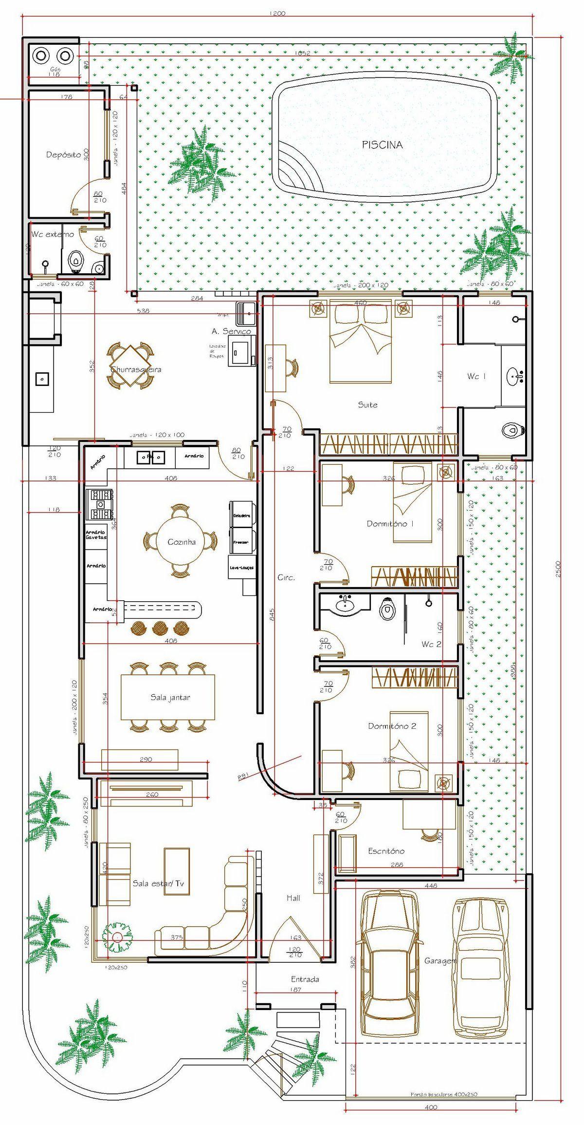 Projeto de casa t rrea de 3 quartos com 170 35m planos for Casa de 2 plantas de 70 metros cuadrados