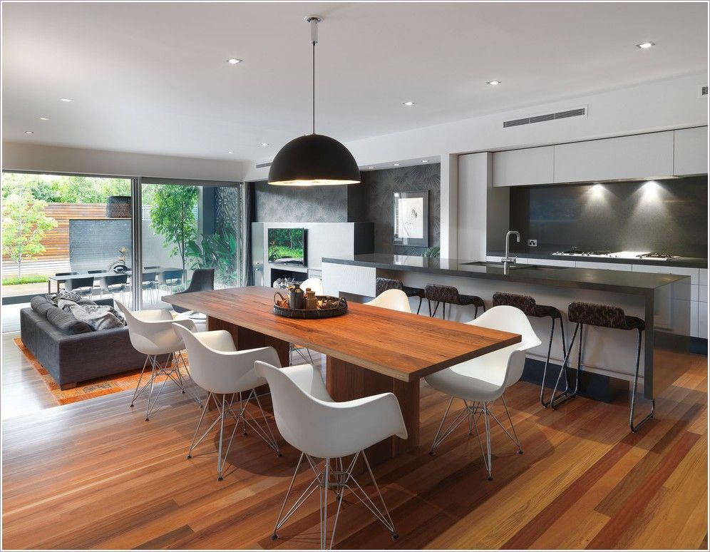 Kitchen Design Dining Room Contemporary Melbourne Ceiling Lighting Great Minimal Neutral Colors Open Floor
