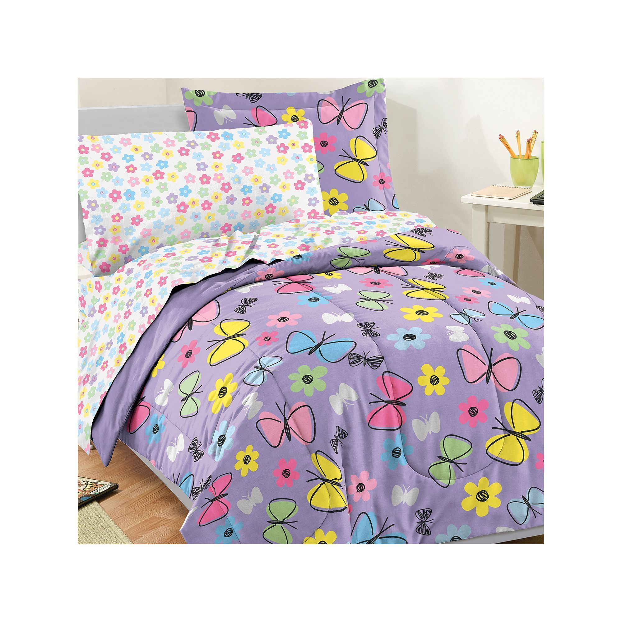 overstock set butterfly free shipping bedding comforter today palms bath nine garden product