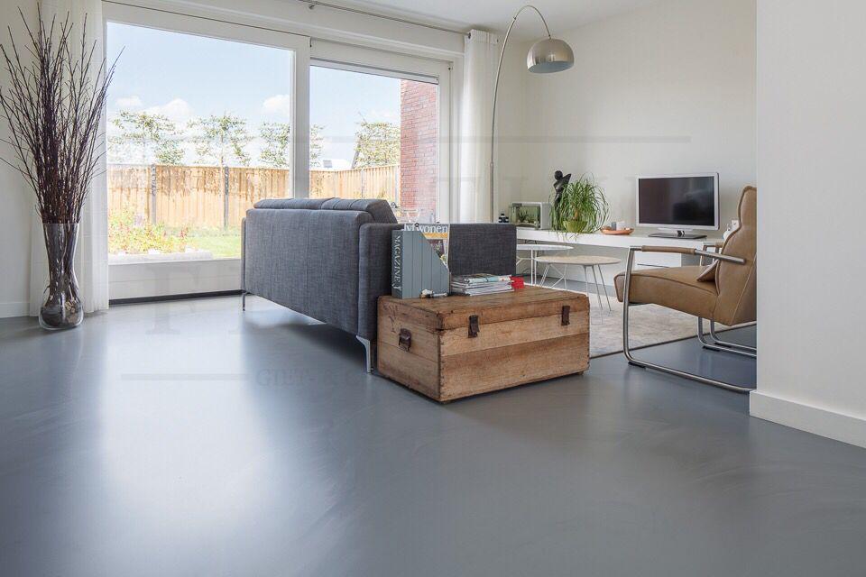 Gietvloer betonlook - woonkamer Oosterhout | Vloer | Pinterest
