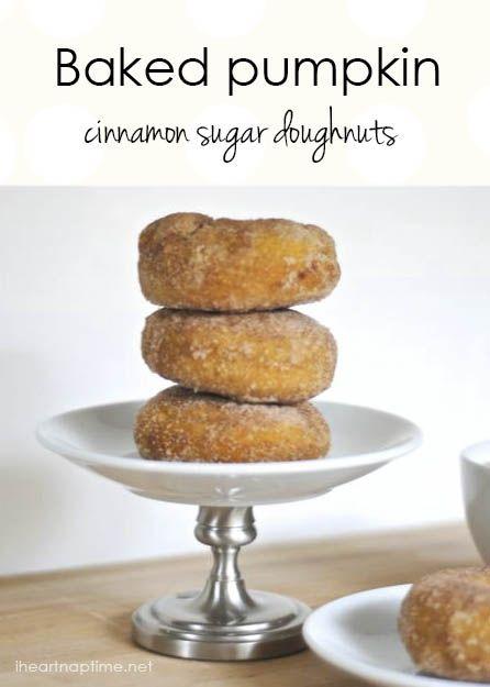 Baked pumpkin doughnuts with cinnamon sugar ...yum! #fall #dessert #recipes