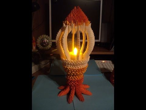 How to make 3d origami Lamp-candlestick (Photo master class