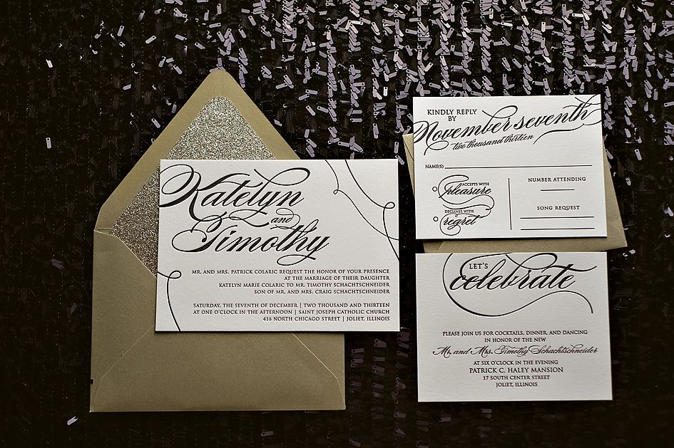black and gold black tie wedding invitation popular wedding invitation 2014 - Black Tie Wedding Invitations