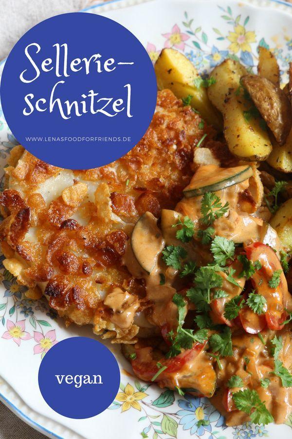 Sellerieschnitzel mit veganer Bratensoße und Kartoffelecken #kartoffeleckenrezept