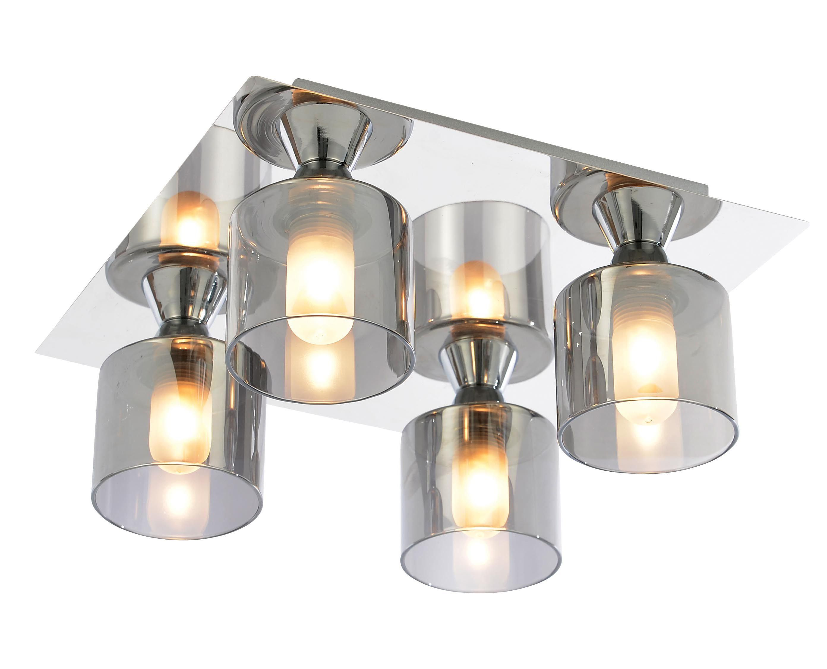 Cobark Clear Smoked Effect 4 Lamp Bathroom Ceiling Light  Ceiling Brilliant Bathroom Ceiling Light Inspiration Design