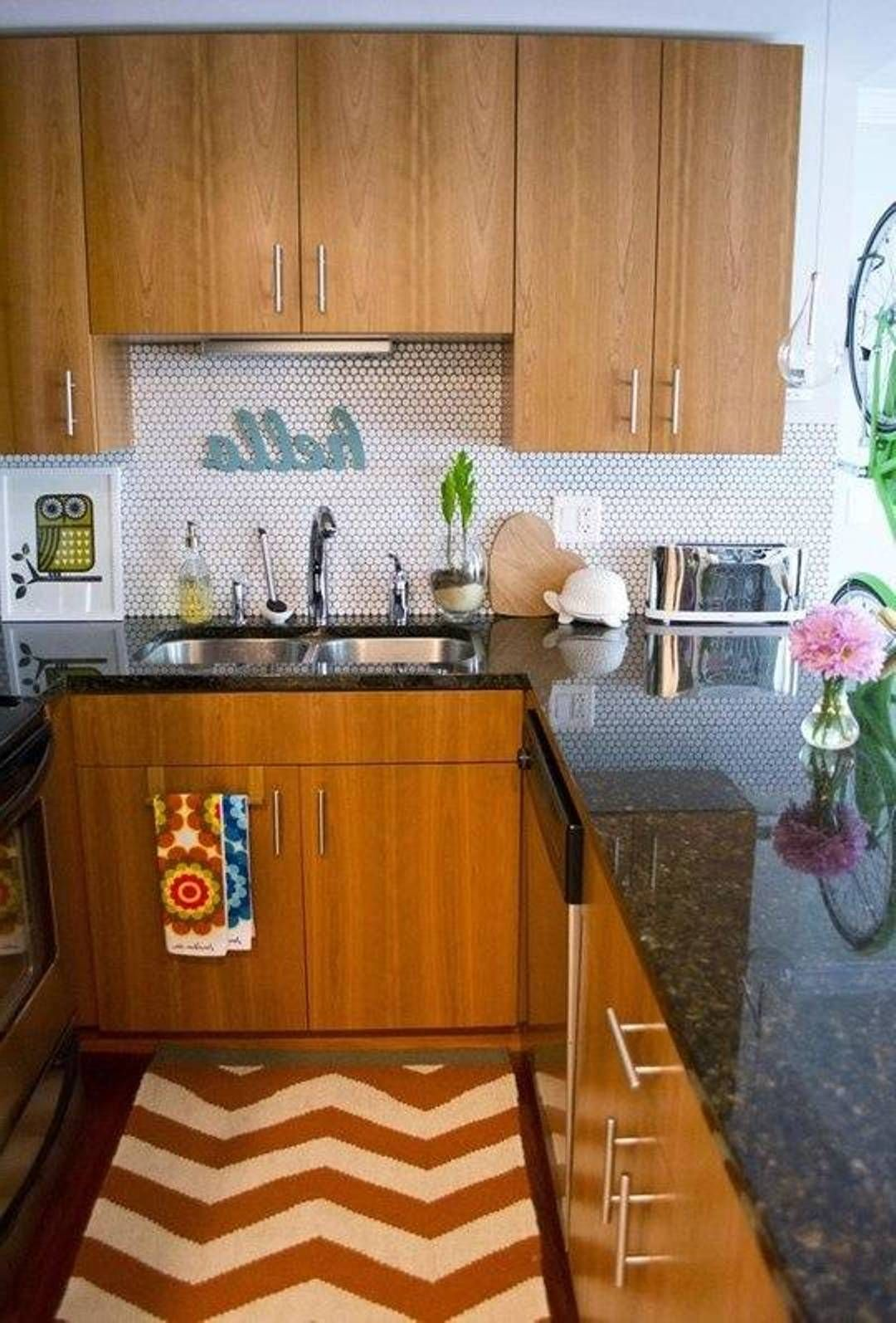 Marvelous Small Apartment Kitchen Design Ideas Part - 13: Vintage Kitchen Designing Ideas With Dark Oramge And Light Orange Tribal  Pattern In Kitchen Rug Uploaded. Small Apartment ...