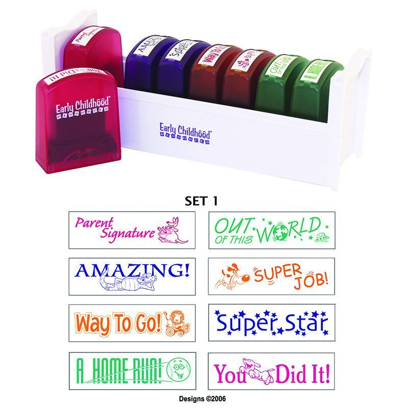 Self Inking Stamps Make It Fast And Easy To Correct Praise Students Work Choose From 5 Available MessageStor Teacher Stamp Sets Each Including 8