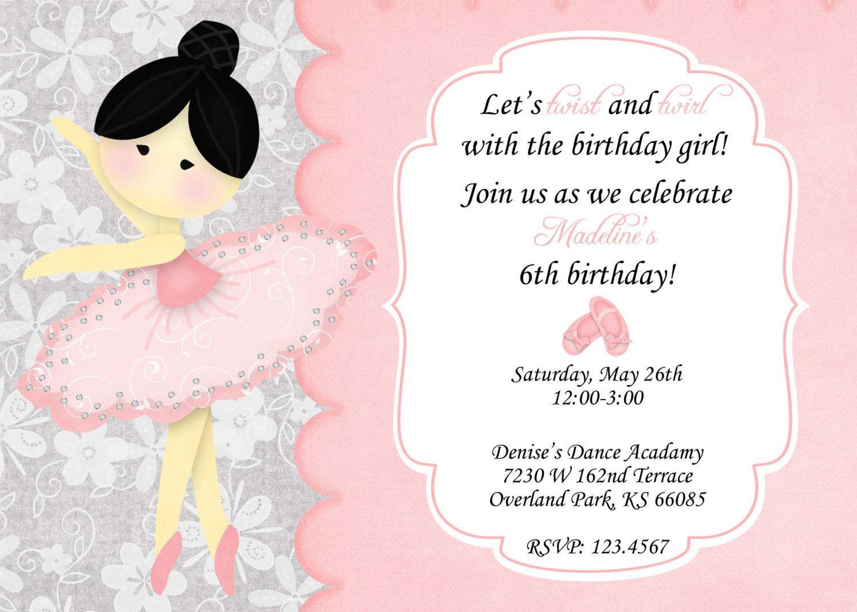 awesome How to Create Ballerina Birthday Invitations | Invitations ...