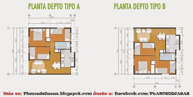 Departamento de 64 m2 planos casa pinterest for Departamentos minimalistas planos