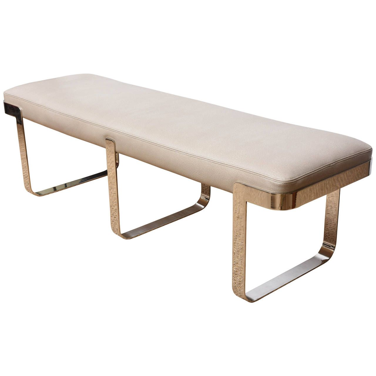 long bench with faux shagreen leather on chrome base pace  - long bench with faux shagreen leather on chrome base pace collection