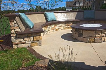 Ordinaire Cement Patio Seating | Custom Concrete Seating Bench Around Gas Firepit    Traditional   Patio .
