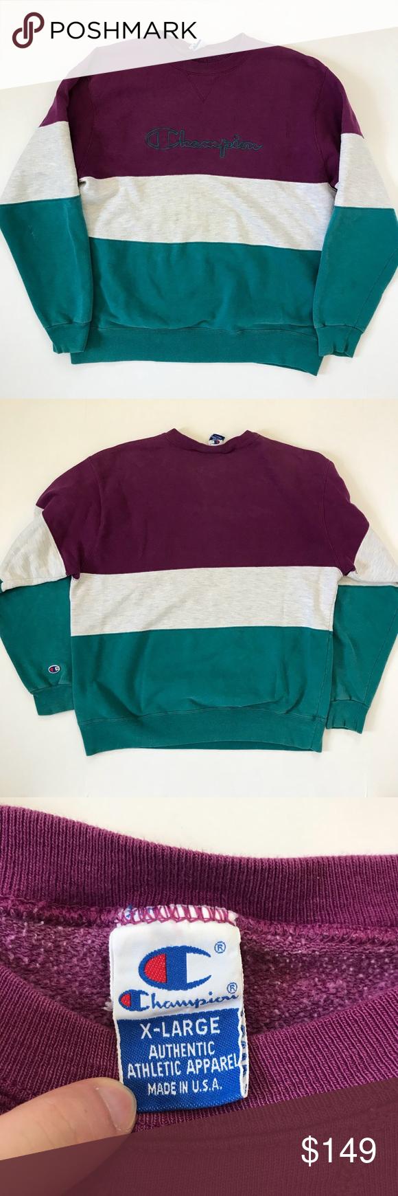 Vtg Champion Color Block Spellout Crew Sweatshirt Sweatshirt Fabric Sweatshirts Crew Sweatshirts [ 1740 x 580 Pixel ]