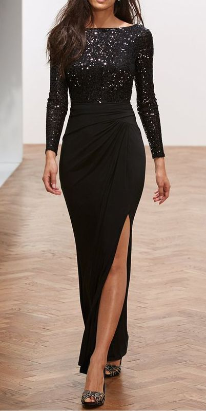 c0015c947fa73 Black Formal Dresses for Women - Macy's. Lauren Ralph Lauren Long-Sleeve  Sequin Gown #sponsored