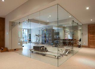 Glass wall home fitness room contemporary home gym toronto