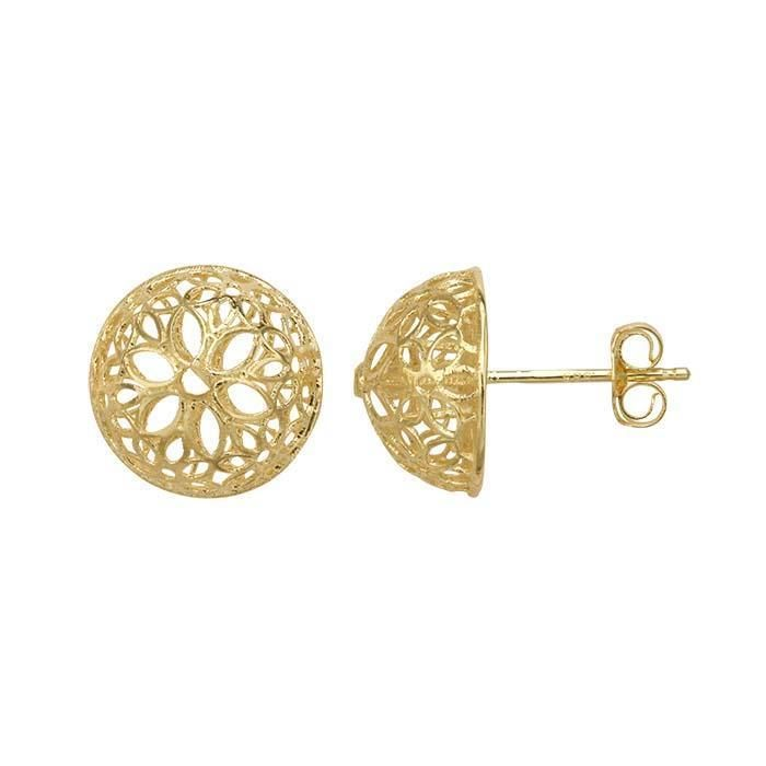 NEW 14K YELLOW GOLD OPEN LARGE FLOWER HOLLOW HALF-BALL STUD ...