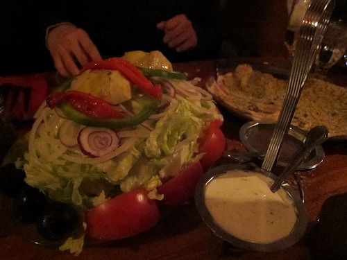 Chicago Oven Grinders salad with 2 dressings