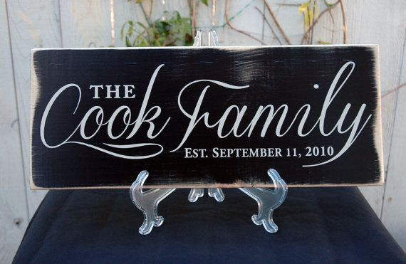 """Beautiful Family Last Name Established Wood Wall Art Decor Sign. Perfect for the home! """"The Cook Family"""" by Jetmak Designs"""