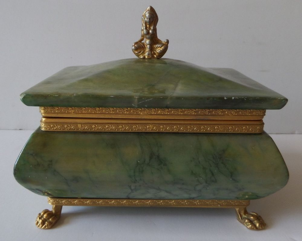 Vintage Green Marble Jade Claw Foot Jewelry Trinket Box Tibetian