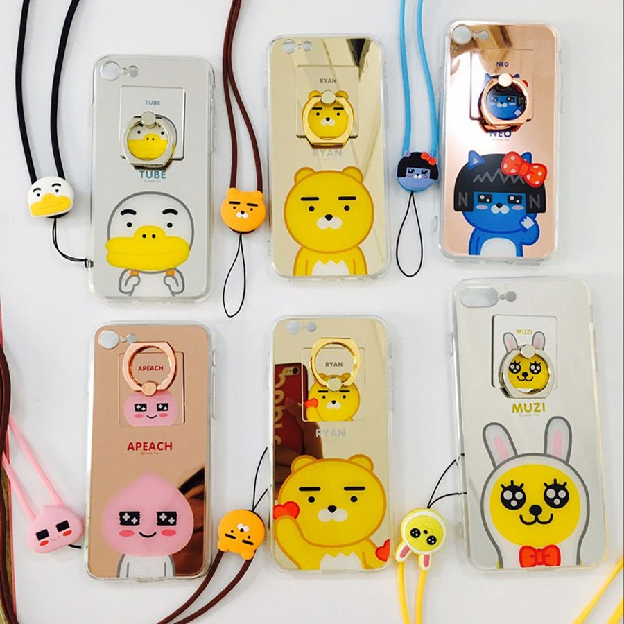 Korean New Kawaii Forest Animals Apeach Neo Muzi Ryan Mirror Bear Case Xiaomi Redmi 3 Pro Robot Rudge With Stand Series Gold Rabbit Styles Cover Phone For Iphone 5 Se 5s 6 6s 7 Plus
