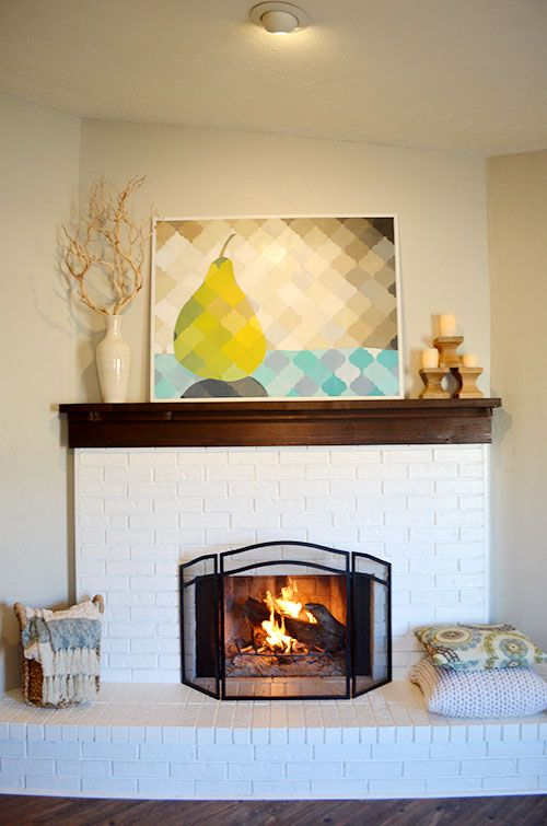 The Happy Homebodies Art Fire Painted Brick Fireplace