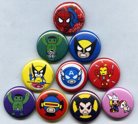 Marvel Tokidoki Pins Buttons Badges Avengers Frenzies Toys Set