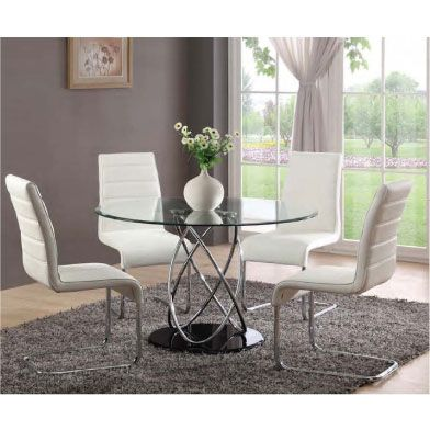 Mille Round Clear Gl Dining Table And 4 White Chairs