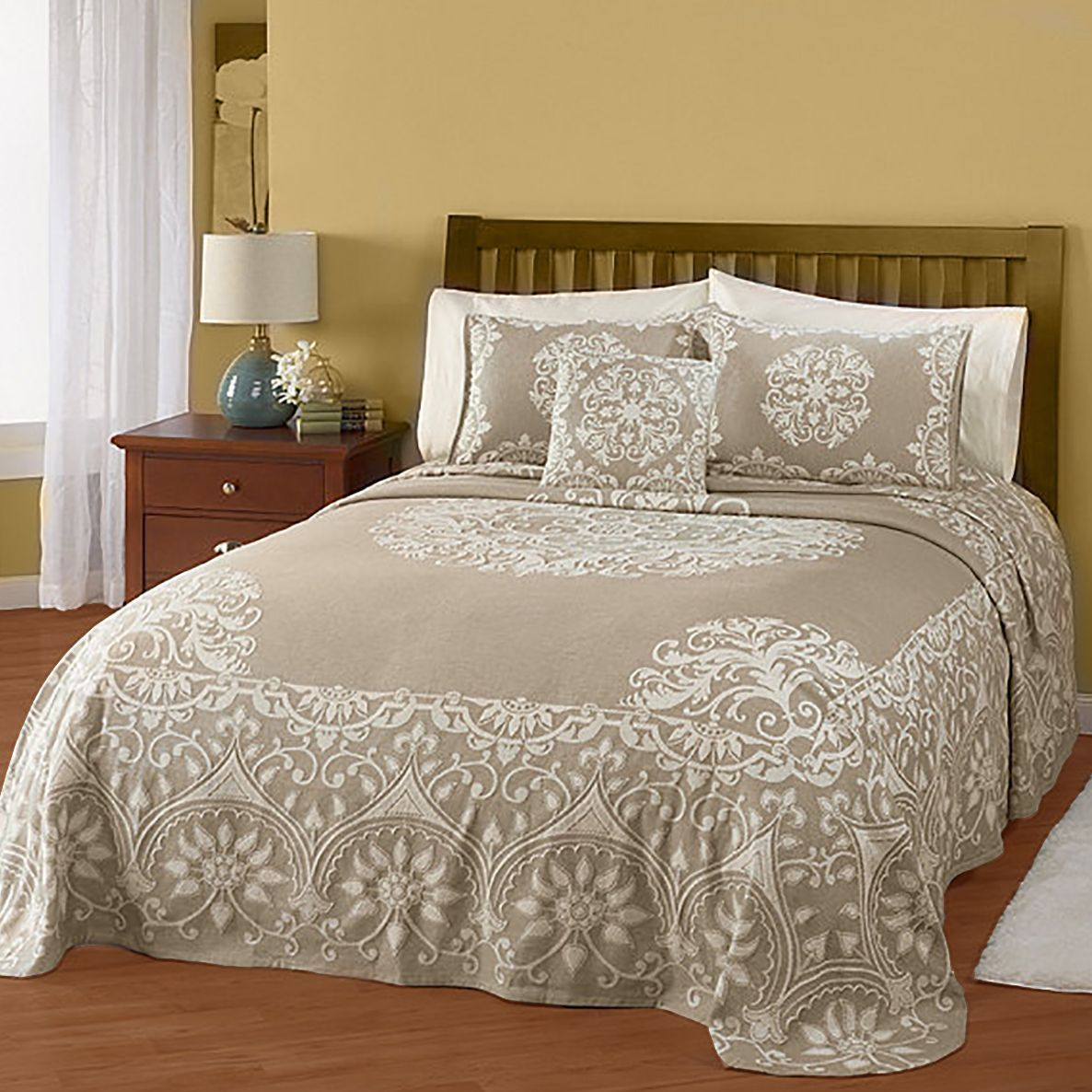 Ribbon embroidery bedspread designs - Ambiance Cotton Jacquard Bedspread