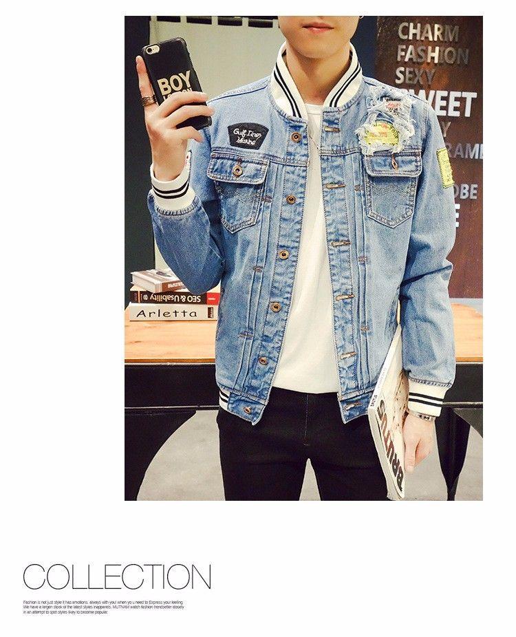 99cb822e99f 2018 Autumn Mens Denim Jacket Fashion Cotton Sim Fit Men Jeans Jackets Plus  Size S-4XL 5XL Casual Streetwear Mens Bomber Jacket -