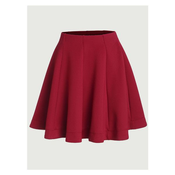 Red Vertical Panel Flare Skirt ($16) ❤ liked on Polyvore featuring skirts, flared skirts, panel skirt, skater skirt, red skater skirt and red skirt