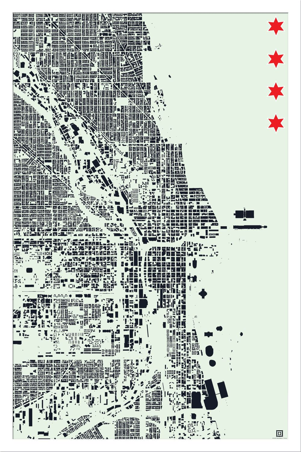 Chicago Building Footprint Map Seafoam  Via Etsy - Chicago map etsy