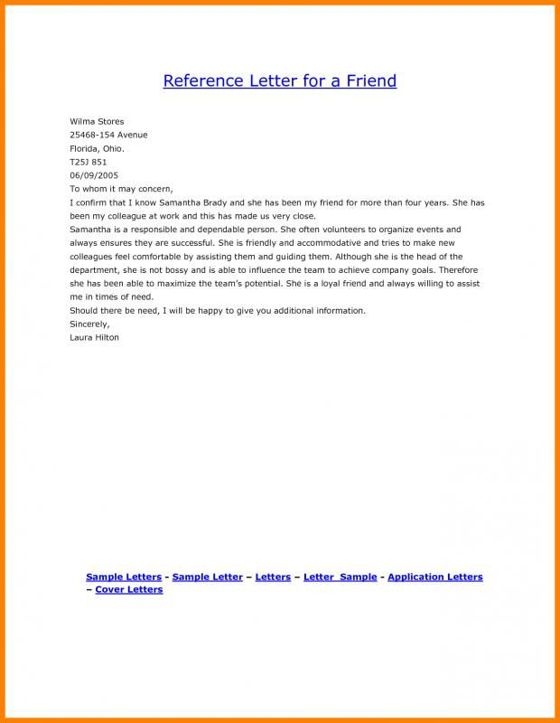 Personal Reference Letter For A Friend Check more at